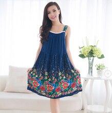 Women Cotton Nightgown Floral Sleep font b Dress b font Sleeveless Sleep Shirt Plus Size font