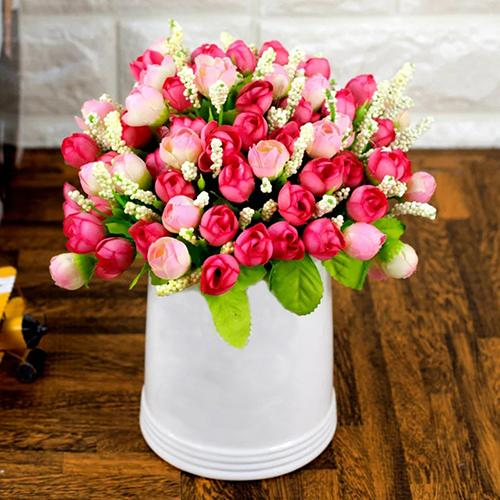Bouquet 15 Heads Fake Rose Flowers Cloth Handmade Wedding Party Home Floral Decoration Artificial Flower 24cm Drop Shipping fake rose flowers