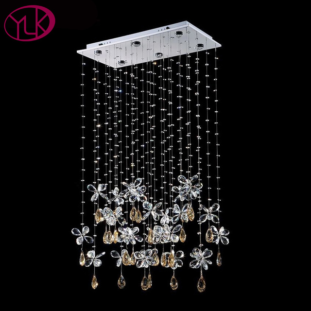 Luxury Erfly Crystal Chandelier For Dining Room Rectangle Modern Led String Lighting Fixture 6 Lights