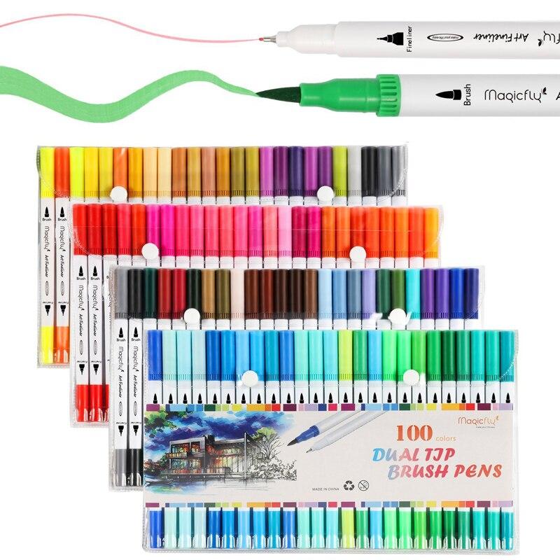 Double conseils 100 couleurs pointe Fine pinceau marqueur à base d'encre aquarelle pinceau croquis marqueurs pour Manga dessin Art fournitures