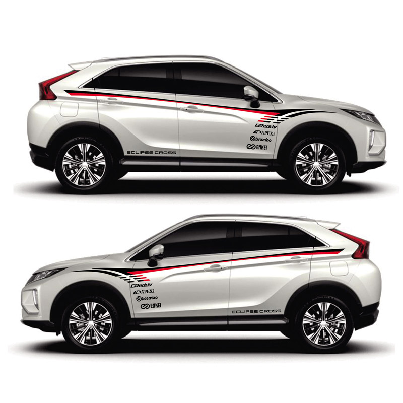 World Datong car sticker For Mitsubishi ECLIPSE CROSS Pajero Outlander Zinger Eclipse Both side body sport auto stickers in Car Stickers from Automobiles Motorcycles
