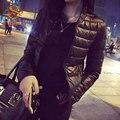 2016 Outono Inverno Mulheres de Slim Curto Casaco de Algodão Acolchoado Casacos Quentes outerwear Jaqueta Preta Fina Básica Plus Size 3XL C175