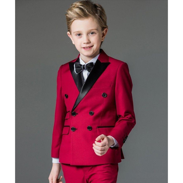eb5be5c767a Bridalaffair Jacket with Pants 2 Pieces Set Boys Suits for Weddings Kids  Prom Suit Red Wedding Suits for Boys Children Clothing