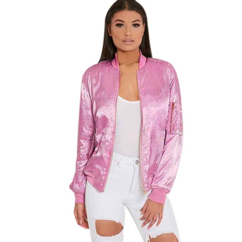 ce91cc217 Autumn Winter Ladies Bomber Jackets Fashion and Retro Baseball coat for  women Students Pink Solid Color