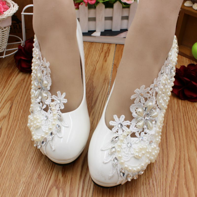 Romantic Ivory lace pearls super high heels dress pumps shoes woman HS067 dance party platforms wedding shoes online handmade sweet girls pink rhinestone and ivory pearls diamond wedding high heels shoes graduation ceremony party pumps drop shipment