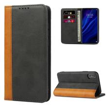 For iPhone X XR XS Max Leather Color Matching Wallet with Magnetic Closure Book Design Slim Flip case for iPhone 8 7 6S 6 Plus trendy women s satchel with magnetic closure and black color design
