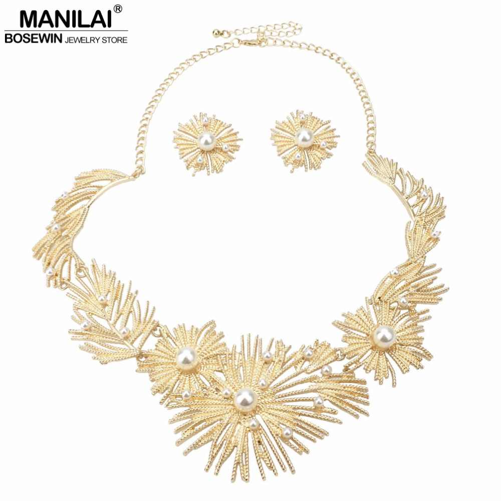 MANILAI Big Flower Statement Necklace Set Woman Wedding African Imitation Pearl Metal Bridal Earrings Necklace Jewelry Sets