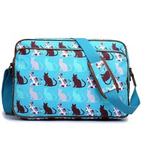 England Style women men adorable Cat print Stylish matte oilcloth messenger bag A4 notebook bags school bags cross body bags