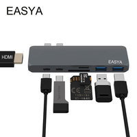 EASYA Thunderbolt USB Type C Hub Adapter Gray USB C Hub 3 0 Combo Dock Dock