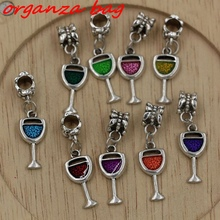 Hot ! 18 PCS Enamel Wine Glass Goblet Drink Dangle Charm Bead fit European Bracelets 32 x 9mm ab802