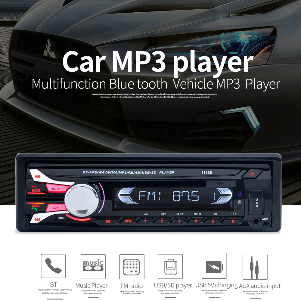 New FM Car Radio Bluetooth Detachable Front Panel Auto Audio Stereo Car MP3 Player AUX USB Handsfree Radios Tuner Remote Control
