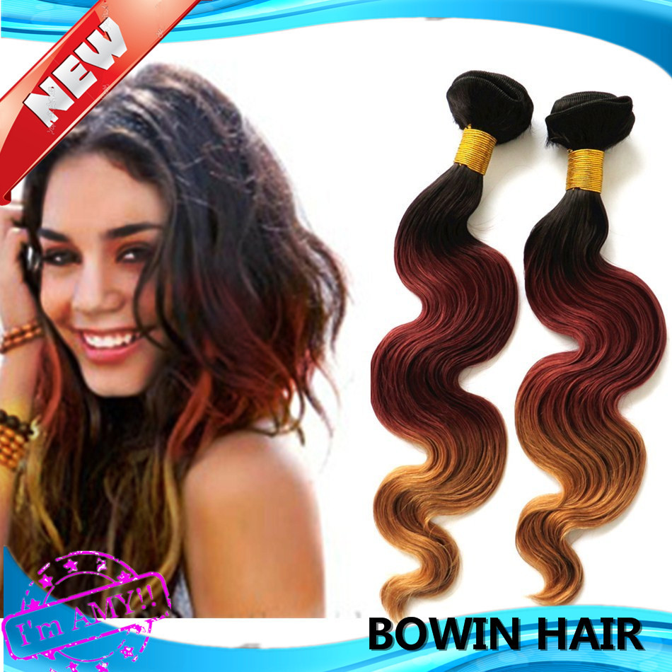 Good Ombre Hair Extension 1b3327 3 Tone Color Brazilian Body