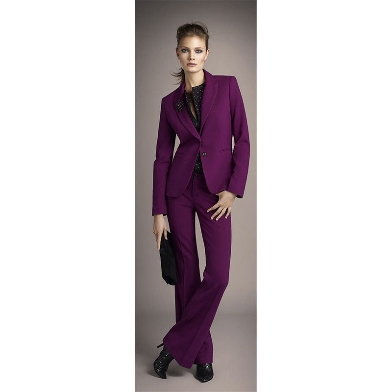 Grape Purple Formal Womens Business Suits Job Interview Pants Elegant Female Office Uniform Custom  B98