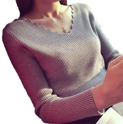 Модные осенние Для женщин v-образным вырезом с длинными рукавами вязаный свитер женский джемпер пуловер, эластичность женская одежда