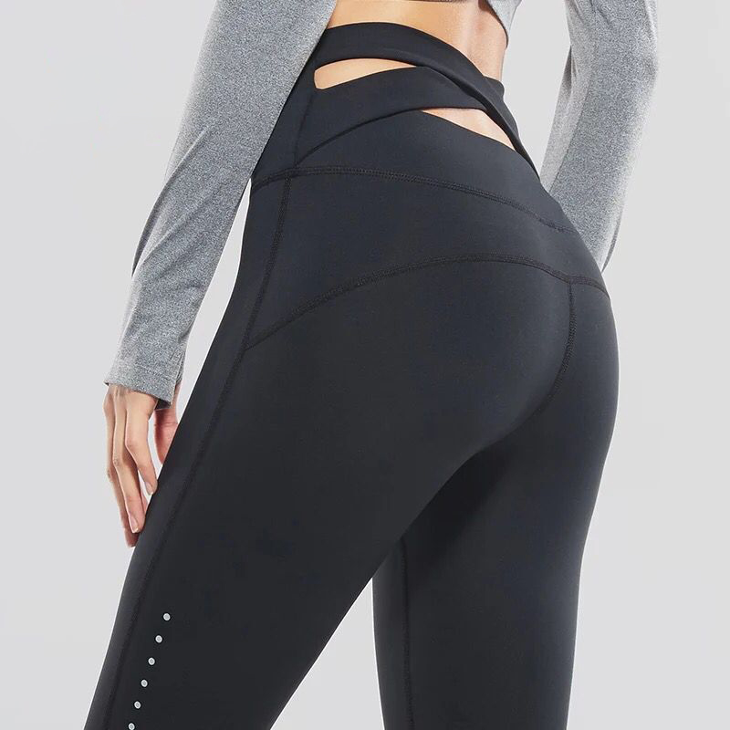 Vansydical Women Yoga Pants Running Fitness Elastic Tights High Waist Sports Leggings Cross Belt Training Jogging Gym Trousers