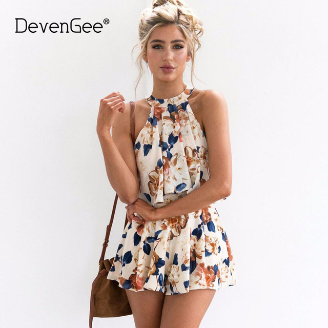 devengee vintage floral two piece set 2018 new crop top