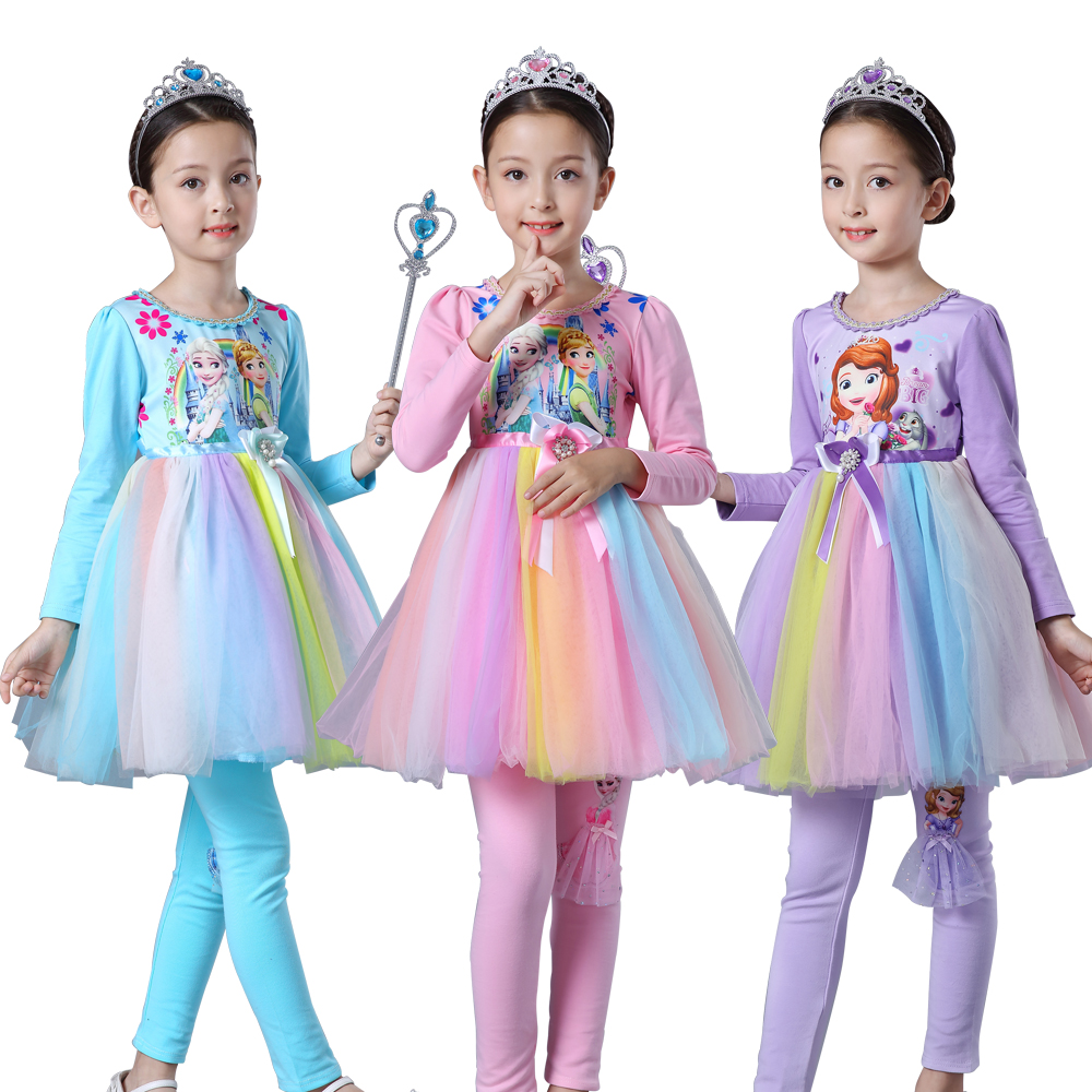 2017 100% cotton christmas Fall Girl Rainbow dress Kids Princess Elsa and Anna Sofia Dress Full Sleeves vestidos party clothes christmas 100