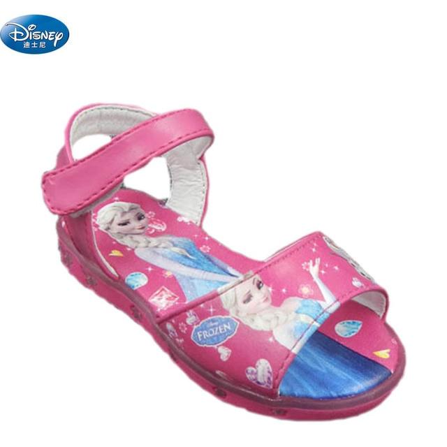 304d326bec2 Disney congelado rosa meninas sandálias com luz LED 2018 elsa e Anna  princesa crianças Dos Desenhos