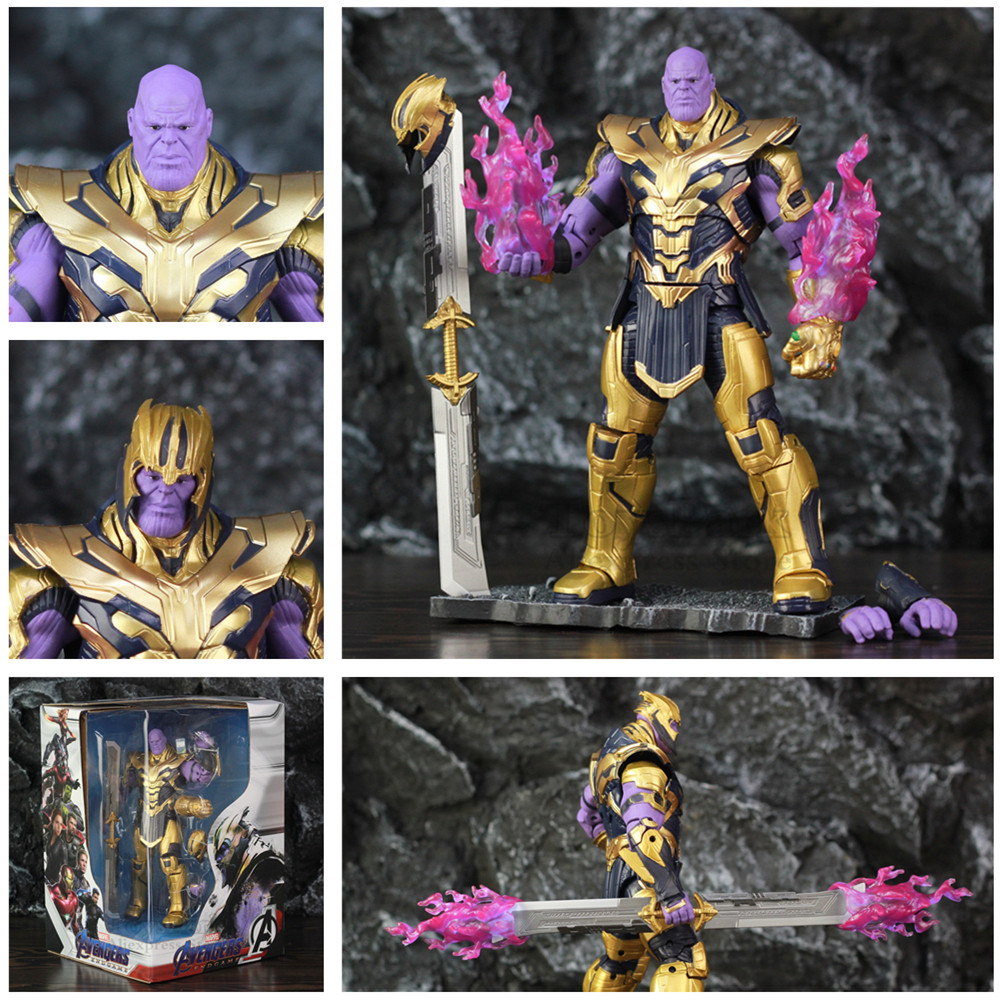 """Marvel Avengers 4 Endgame 8"""" Thanos 2019 Movie 20cm Action Figure Infinity Gauntlet Legends Original ZD Toys Doll Collectable"""