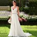 2017 Nuevo En Stock Vestidos de Novia Con Cuello En V Sin Mangas Largo Vestido De Novia Plisado Applique Rebordeó el vestido de Novia Vestido de Casamento