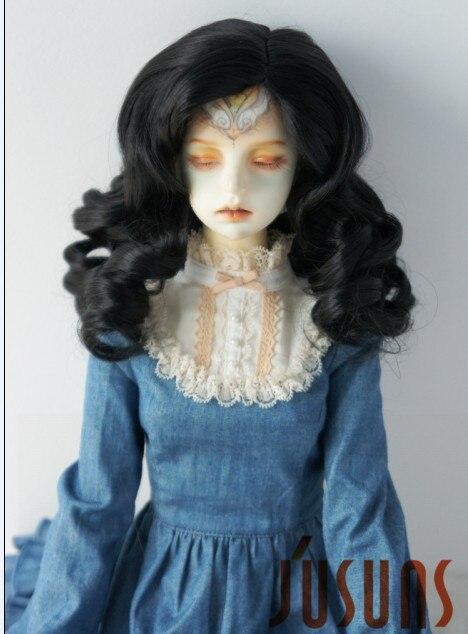 JD343 SD 21-23 см синтетический, мохеровый, для куклы парик 8-9 дюймов длинный курчавый BJD волосы легко переоснастить - Цвет: Black