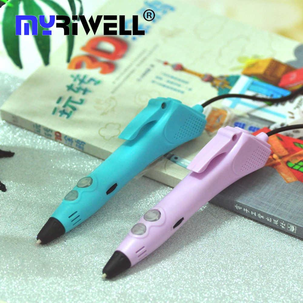 Myriwell 2018 nuevo lápiz de impresora 3D USB de baja temperatura 3D Doodle Pen 50m o 100m 1,75mm lápiz PCL 3D seguro para regalos de cumpleaños para niños