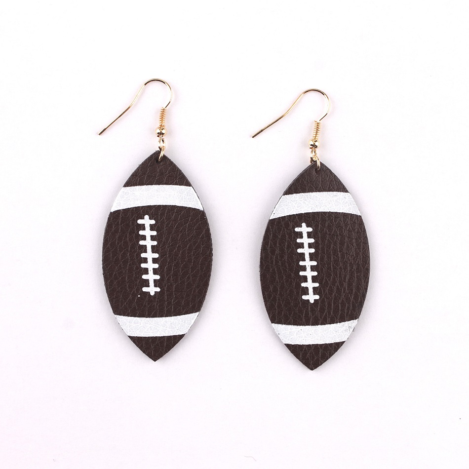 Faux Leather Football Sport Drop Earrings