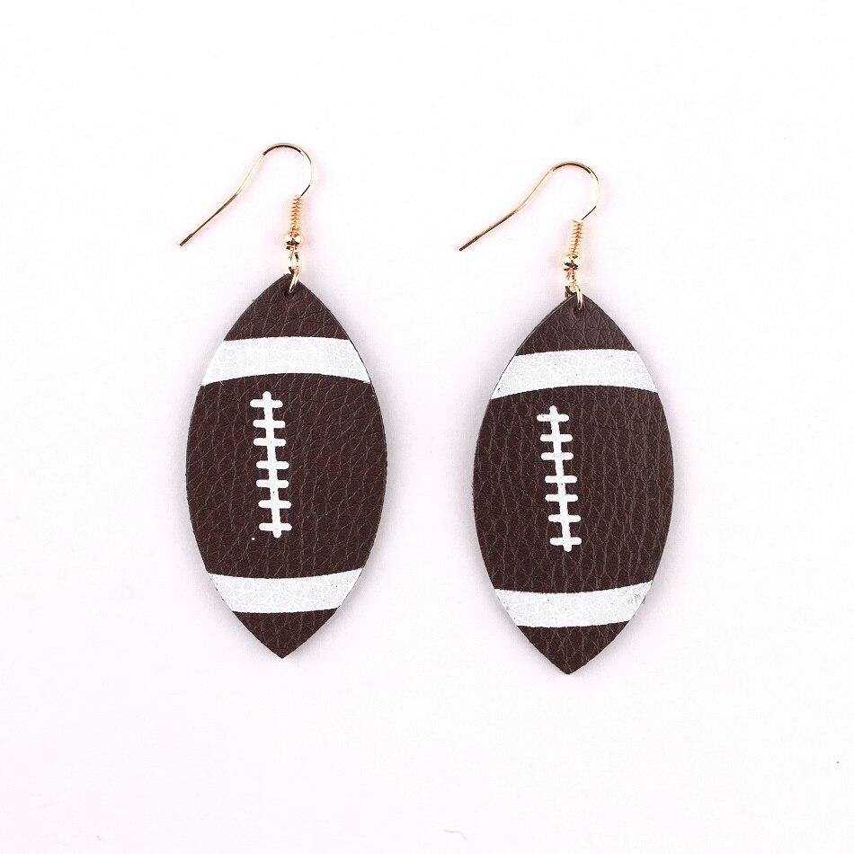 Faux Leather Football Sport Drop Earrings-in Drop Earrings ...