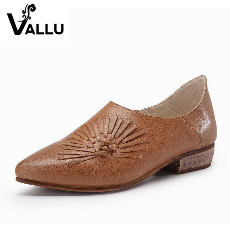 1bf8ca902c3b 2019 кожаные туфли женские туфли-лодочки острый носок низкий каблук ручная  работа ...
