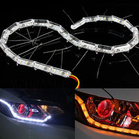 2x Car Flexible White Amber Switchback LED Knight Rider Strip Light For Headlight Sequential Flasher DRL