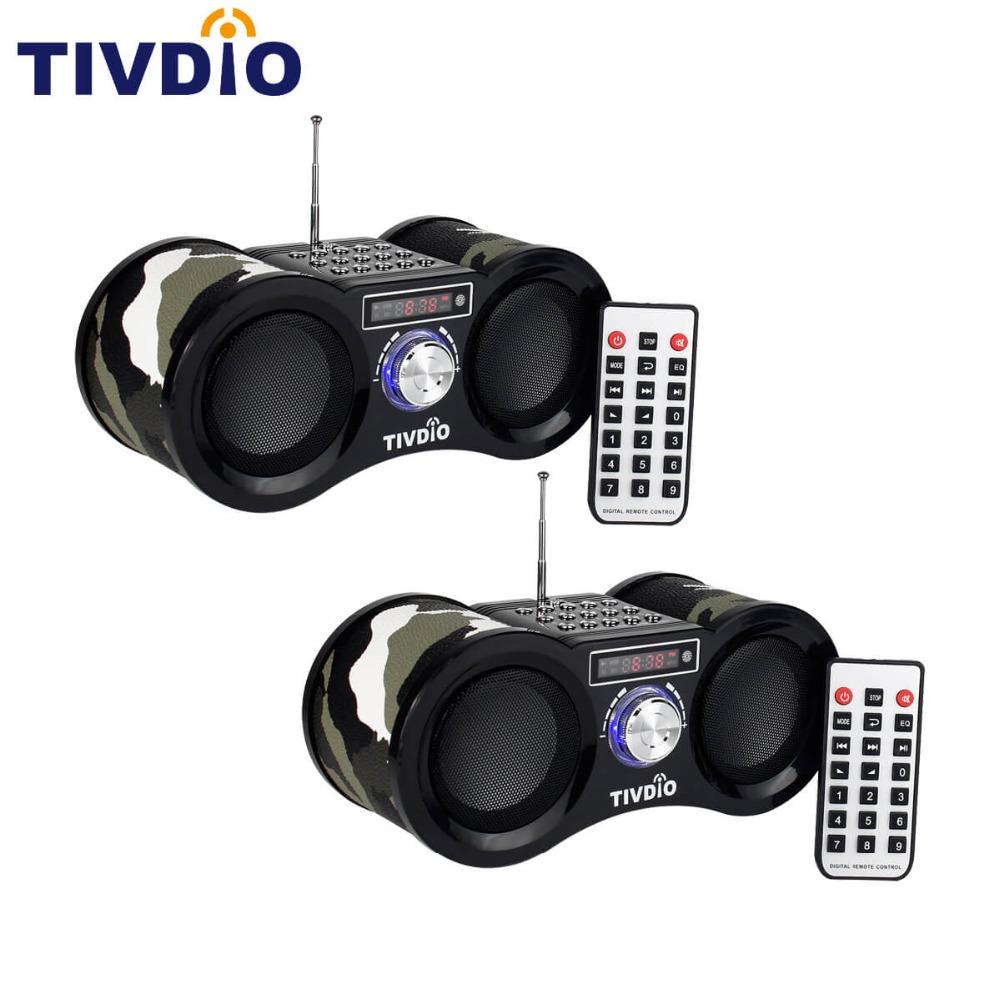 2pcs TIVDIO V-113 FM Stereo Radio Receiver Digital MP3 Music Player Support Micro SD Card/USB Disk Remote Control tivdio v 116 fm mw sw dsp shortwave transistor radio receiver multiband mp3 player sleep timer alarm clock f9206a