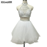 New Arrival Two Piece White Organza A Line Homecoming Dresses 2018 High Neck Crystal Short Dresses For Graduation Girls