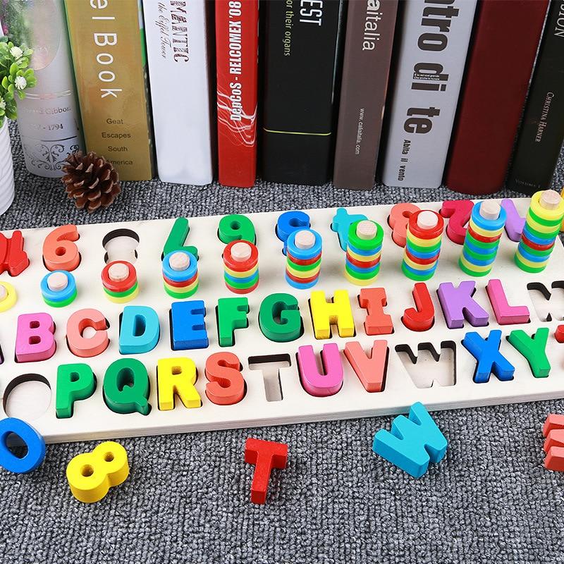 Juguetes para niños, niños, letras digitales, rompecabezas de conocimiento de Color, bebé, bloques de construcción de aprendizaje temprano, juguetes Montessori