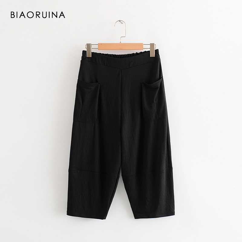 BIAORUINA Women Black Casual Elastic High Waist Calf-Length   Pant   Female Fashion Loose   Wide     Leg     Pant   Summer All-match Trousers