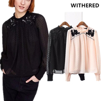 Withered BTS Spring Blusas Blouse Kimono Streetwear Embroidery Hit Color Chiffon Floral Sequins Shirt Plus Size