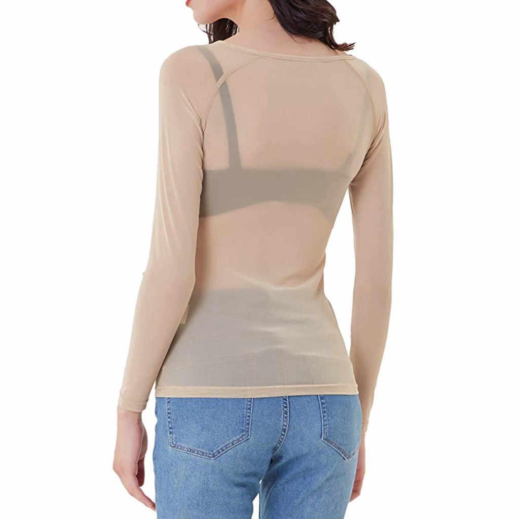2018 セクシーな女性シースルー透明メッシュスタンドネックロングスリーブシアートップス Tシャツプラスサイズ DG0707