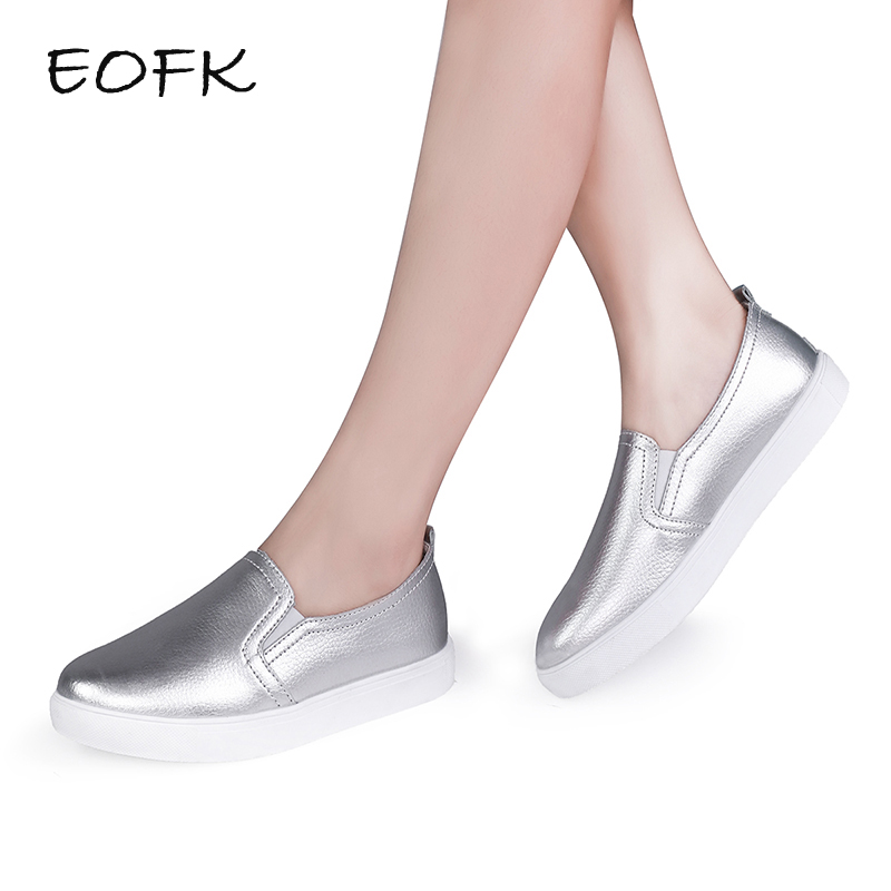 EOFK High Quality Fashion Women Flats Loafers Casual Leather Shoes Woman Loafer Slip On Shoes For Women Moccasins Female high quality genuine leather women shoes fashion female casual shoes heart