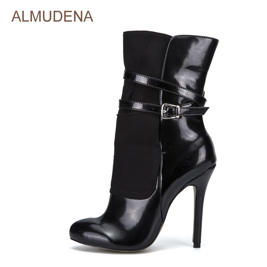 ALMUDENA Black Patent Leather Suede Patchwork Dress Boots Mid-calf Women Boots Thin High Heel Party Shoes Buckle Strap Pumps hot selling chic stylish black grey suede leather patchwork boots mid calf spike heels middle fringe boots side tassel boots