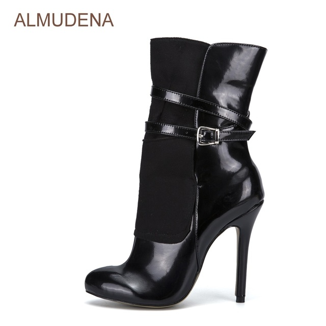 Almudena Black Patent Leather Suede Patchwork Dress Boots Mid Calf