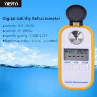 Yieryi DR201 Соленость метр 0 28% Цифровой рефрактометр солености соль метр Портативный анализатор качества воды
