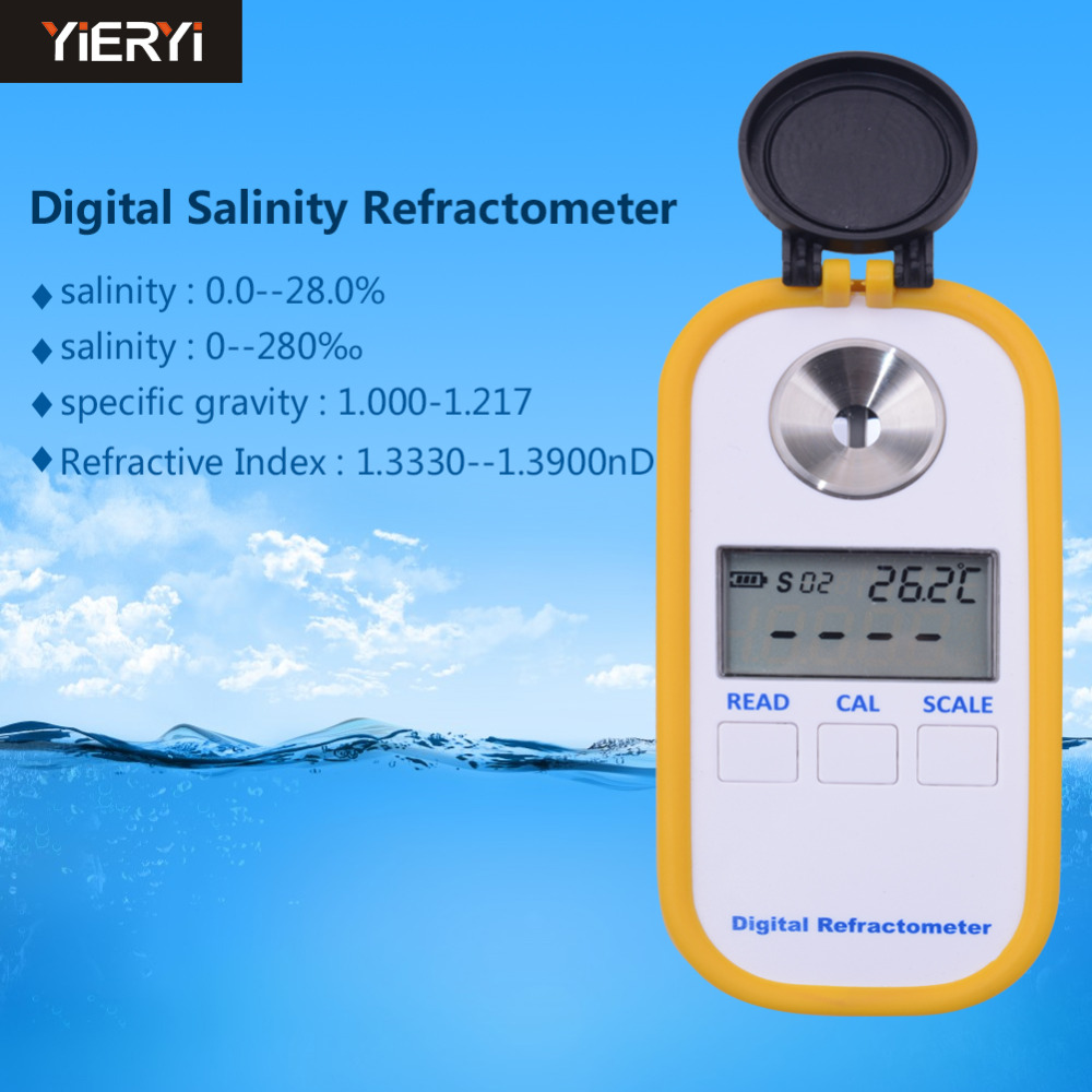 Yieryi DR201 Salinity Meter 0-28% Digital Salinity Refractometer Salt Meter Portable Water Quality Analyzer ct 3086 salinity meter portable salinity meter brackish meter precision pen style digital salinity meter 0 0