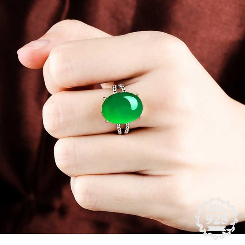 12*16 มม.ไม่ปลอม S925 เงินสเตอร์ลิง Asia แหวนมรกตหยก moldevite Chinatown โคลอมเบีย Retro อัญมณี