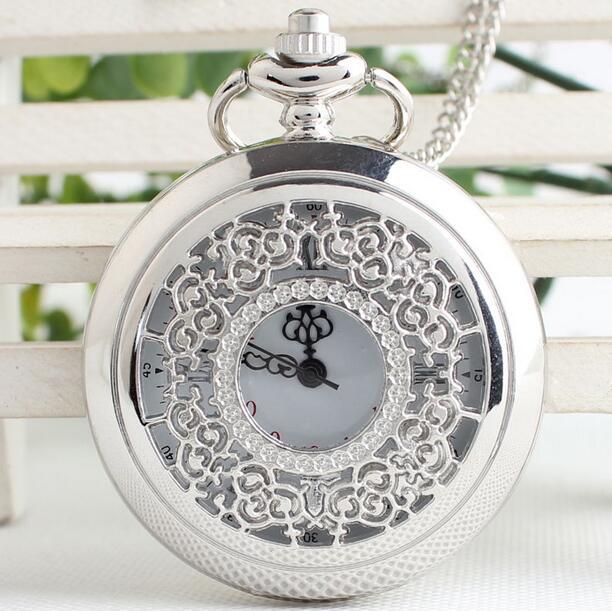 NEW Silver Flowers Hollow Men Women Large Quartz Pocket Watch Necklace Chain Gift Watch Reloj