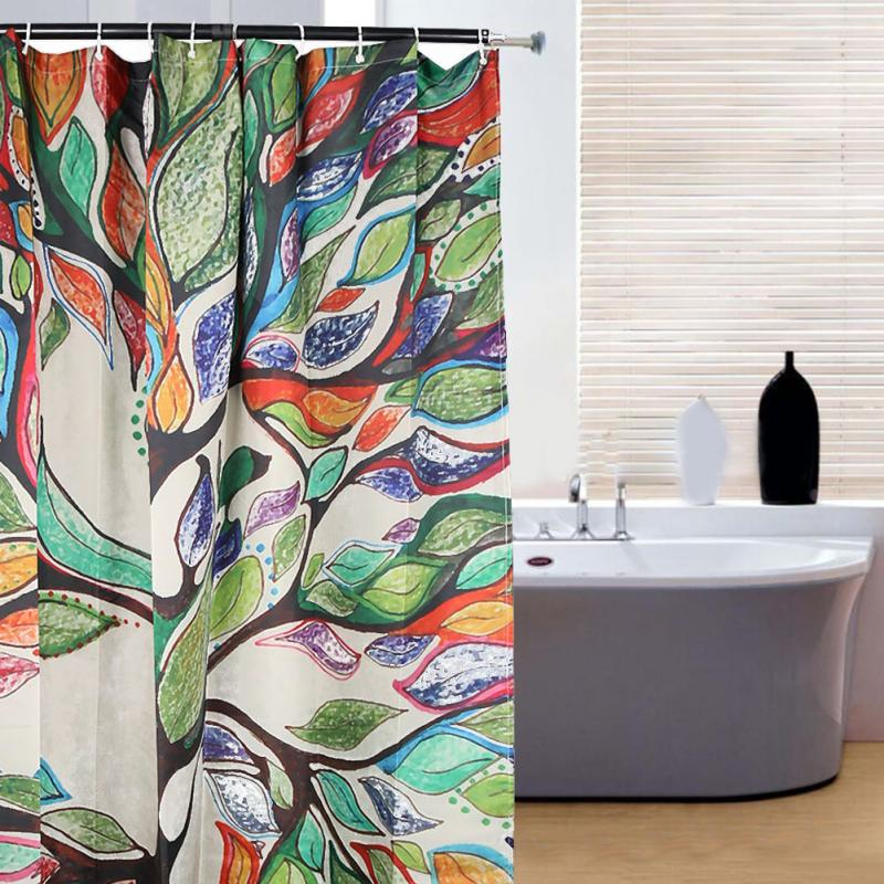 150180cm Colorful Tree Wooden Bridge Waterproof Trees Shower Curtains With 12 Hooks Bathroom Creative Polyester Bath Curtain