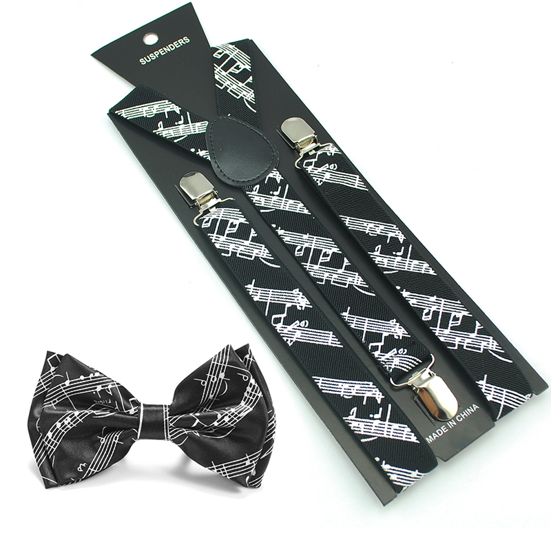 Aliexpress Hot Sale Women Men Unisex 17 Colors Mix Suspender And Bowtie Set Y-Shape Musical Note Office Casual Bowtie Set