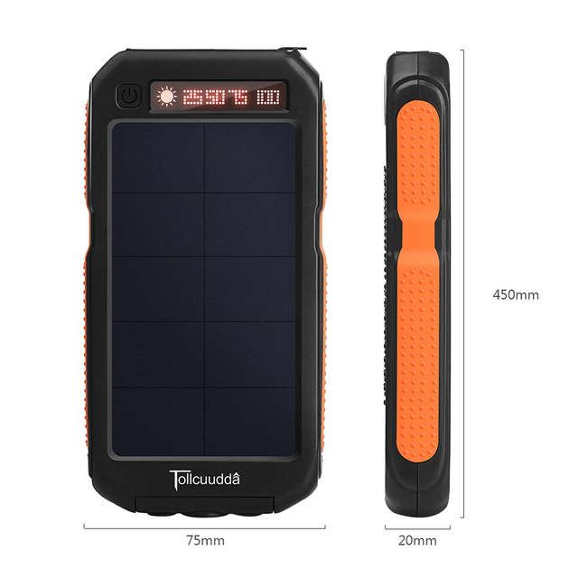 Tollcuudda 10000mah Waterproof Solar Power Bank with 3 LED light