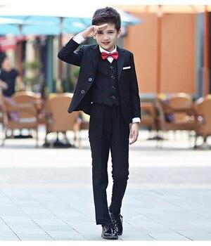 Blue Blazer for Wedding Suit Children Jacke+ trousers + shirt + tie + vest Kid Tuxedos Set Autumn Winter Big Boys Party Blazers