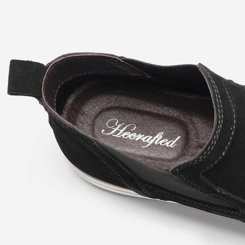 Inek Deri Chelsea Çizmeler Erkekler Boyutu 36 ~ 48 El Yapımı Erkek Sonbahar Çizmeler # CX0783