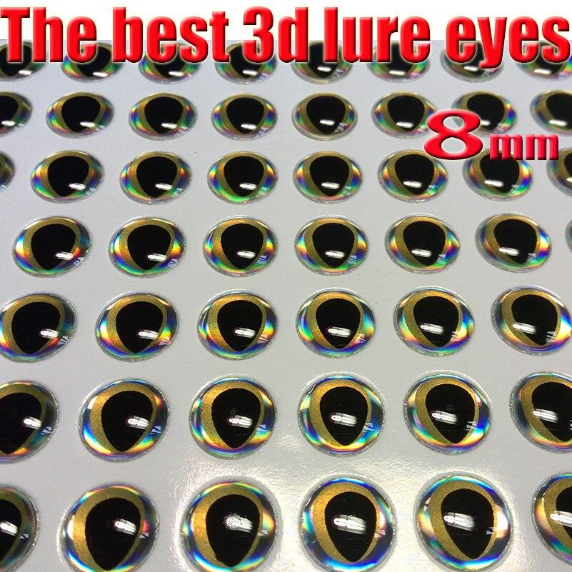 2016novo olho de isca de pesca 3d, processo de dropping perfeito, melhores olhos de peixe tamanho 4mm-8mm quntily300 pçs/lote