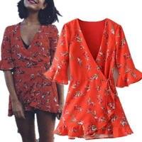 2018 Nowy V-neck Floral Print Czerwony Flare Rękawy W Stylu Vintage Okład projekt Ruffles Suknia moda praia vestidos